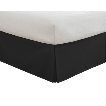 Bedding Tailored Bed Skirt  Classic 14  Drop Length  Pleated Styling  Queen  Black  Ship From Usa Brand Lux Hotel