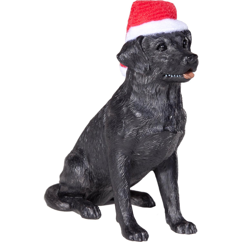 Sandicast Sitting Black Labrador Retriever with Santa's Hat Christmas Dog Ornament
