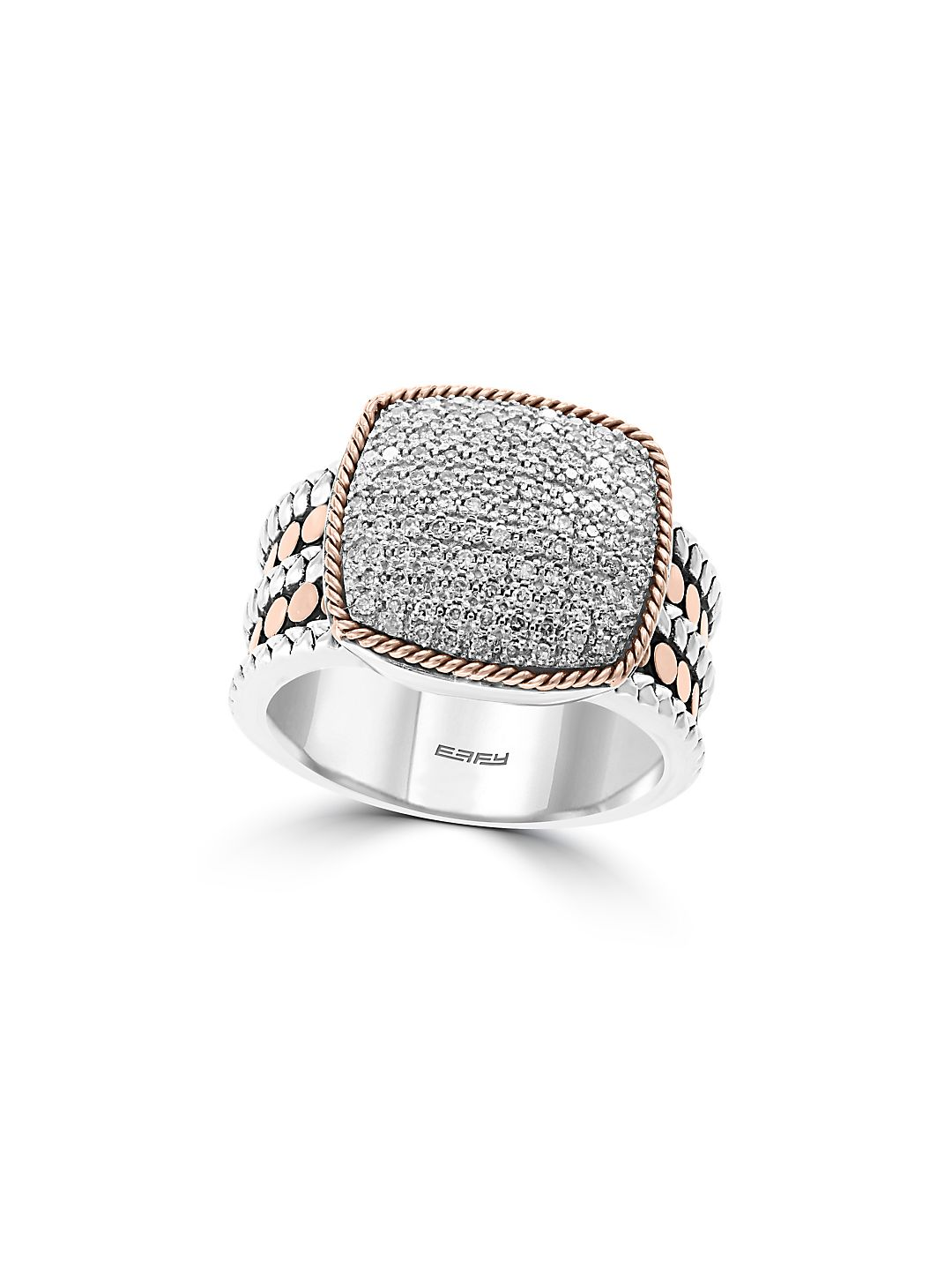 925 Sterling Silver, 18K Rose Gold and Diamond Ring