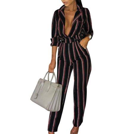 - Women Casual Striped Straight Leg Jumpsuit Plunge Lapel V Neck Party Playsuit Pants Long Sleeve Clubwear Romper Trousers