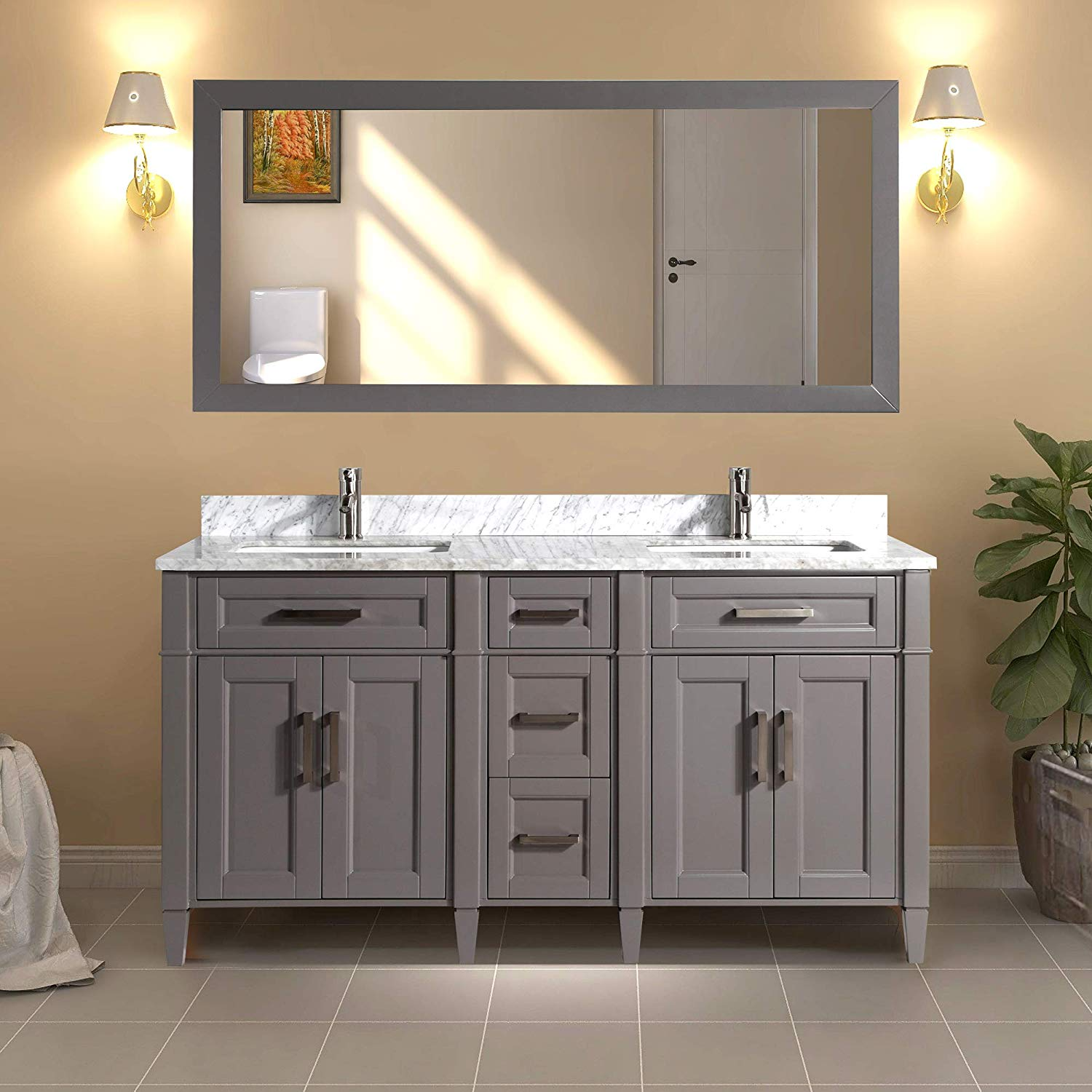 Vanity Art 60 Double Sink Bathroom Vanity Combo Set 5 Drawers 2 Shelves Carrara Marble Stone Top Under Sink Cabinet With Mirror Walmart Com Walmart Com