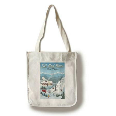 Red River, New Mexico - Retro Ski Resort - Lantern Press Artwork (100% Cotton Tote Bag -