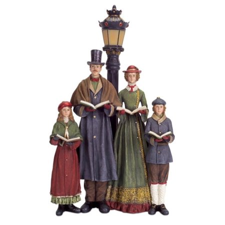 20 led lighted carolers with lamp post table top for Outdoor christmas figures