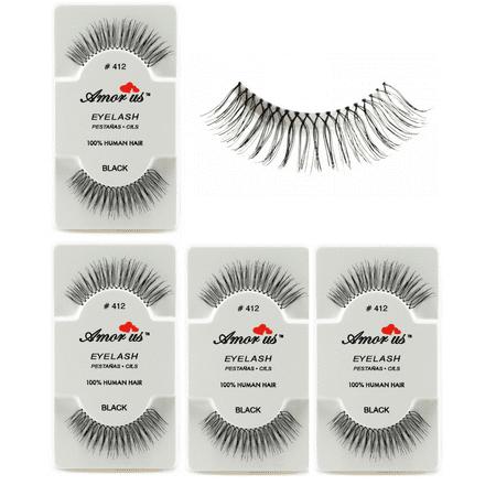 LWS LA Wholesale Store  6 Pairs AmorUs 100% Human Hair False Long Eyelashes # 412 compare Red
