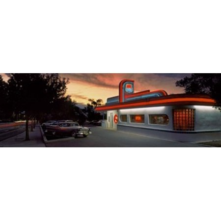 Cars Parked Outside A Restaurant Route 66 Albuquerque New Mexico Usa Poster Print