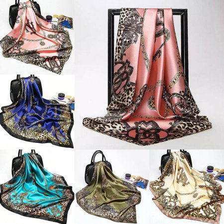 Awoscut Ladies Woman Floral Bandana Square Head Neck Scarf Wrap Satin Silk Vintage Shawl Satin Stripe Scarf Wrap