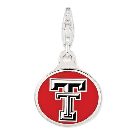 ICE CARATS 925 Sterling Silver Enamel Texas Tech Univ. Lobster Clasp Pendant Charm Necklace Licensed Collegiate Fine Jewelry Ideal Gifts For Women Gift Set From Heart - Texas Tech 2017 Halloween