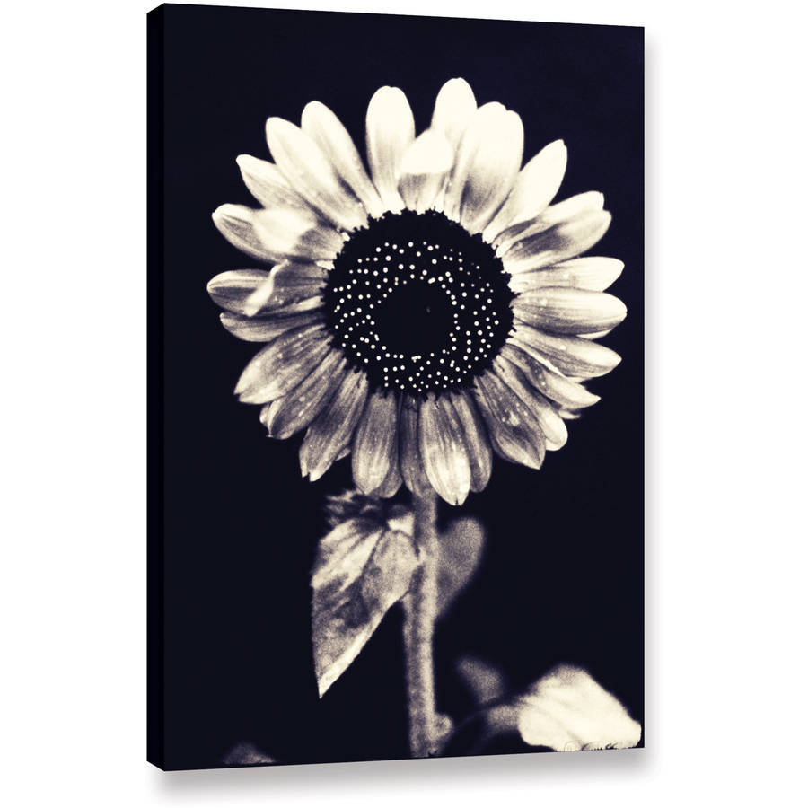 """Elena Ray """"Black And White Sunflower"""" Gallery-Wrapped Canvas Art"""