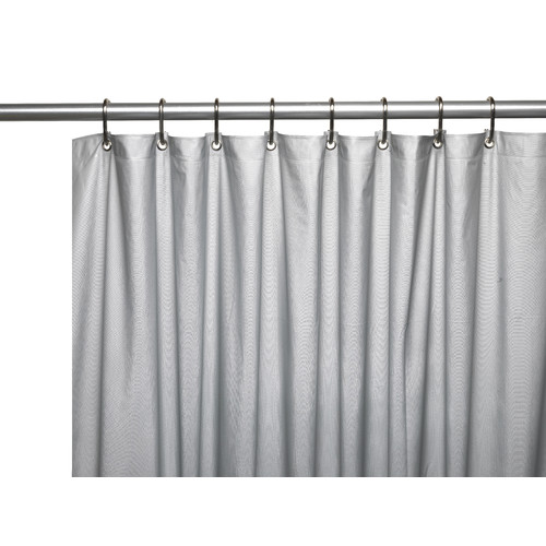 3 Gauge Vinyl Shower Curtain Liner w/ Weighted Magnets and Metal Grommets in Silver