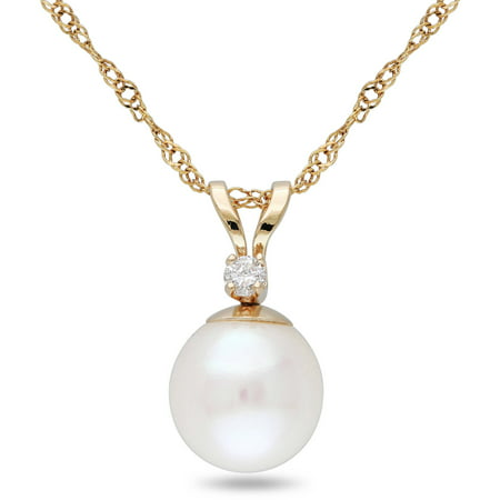 Round Freshwater Pearl Pendant (Miabella 7-7.5mm White Round Cultured Freshwater Pearl and Diamond-Accent 14kt Yellow Gold Fashion Pendant,)