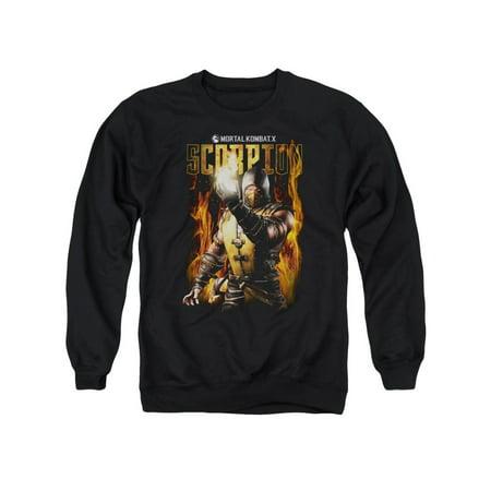 Crewneck Sweatshirt: Mortal Kombat- Scorpion Calling Fire Size S (Scorpion Mask Mortal Kombat)