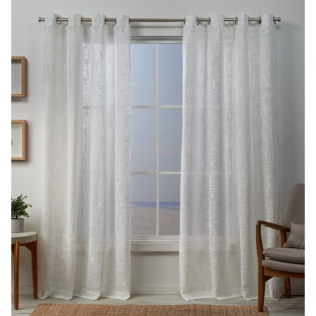 - Exclusive Home Curtains 2 Pack Sena Two Way Slub Yarn Sheer Grommet Top Curtain Panels