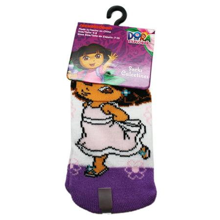 Dora the Explorer Dancing Flowers White/Violet Toddler Socks (1 Pair, Size 4-6)