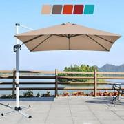 Costway 10Ft Square Patio Offset Cantilever Umbrella 360 Degree Tilt Aluminum Tan