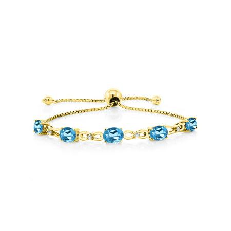4.25 Ct Oval Swiss Blue Topaz 18K Yellow Gold Plated Silver Diamond Bracelet