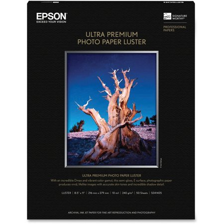 - Epson, EPSS041405, Ultra Premium Luster Photo Paper, 50 / Pack, White