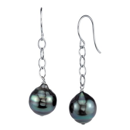 14K Gold Tahitian South Sea Baroque Cultured Pearl Dangling Tincup Earrings ()