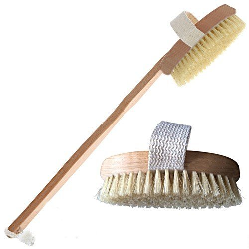 "Wideskall® 15"" inch Wooden Shower Spa Back Body Brush with Detachable Hand Grip Handle"