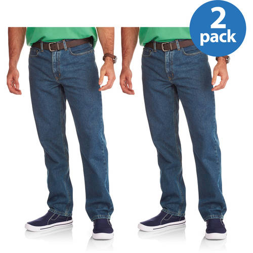 Faded Glory Men's Relaxed Jeans, 2 Pack, Your Choice