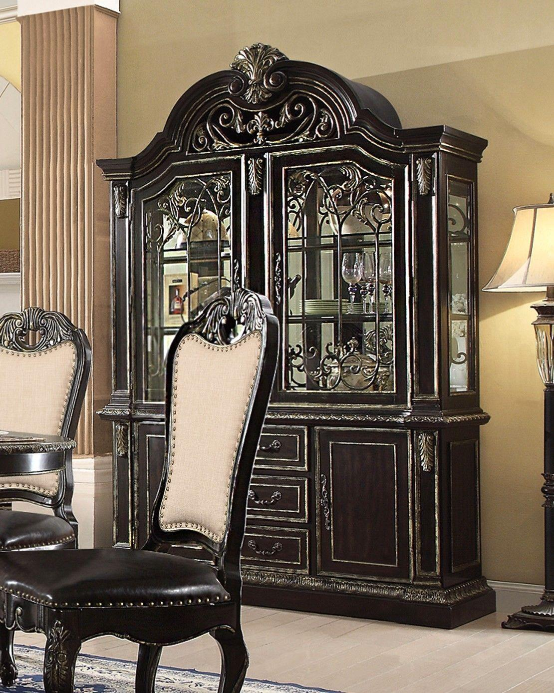 McFerran D5188-HH D5188-HB Ebony Gold Gothic Style 2-door Lighted China Cabinet by