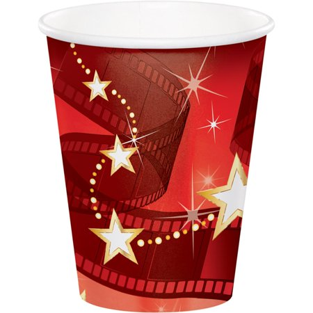 Club Pack of 96 Red and Gold Hollywood Lights Disposable Hot and Cold Party Tumbler Cups 9 oz.