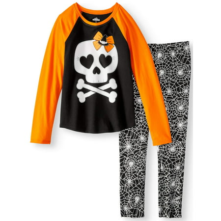 Girls' Halloween Long Sleeve Graphic Raglan T-Shirt and Print Leggings, 2-Piece Outfit - Halloween Outfits Ideas Homemade