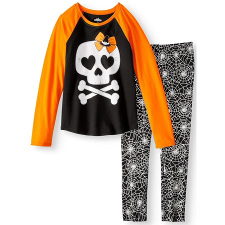 Girls' Halloween Long Sleeve Graphic Raglan T-Shirt and Print Leggings, 2-Piece Outfit Set (Burger King Halloween Outfit)