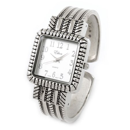 - Silver Metal Western Style Decorated Square Face Women's Bangle Cuff Watch
