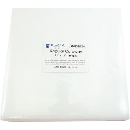 Threadart Cutaway Machine Embroidery Stabilizer | 1.8 oz Medium Weight | 11x11 100 Precut Sheets