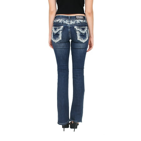 Rhinestone Studded Jeans (Grace in LA Women Bootcut Jeans with Embellished Detail and Rhinestones 25 Medium Denim)