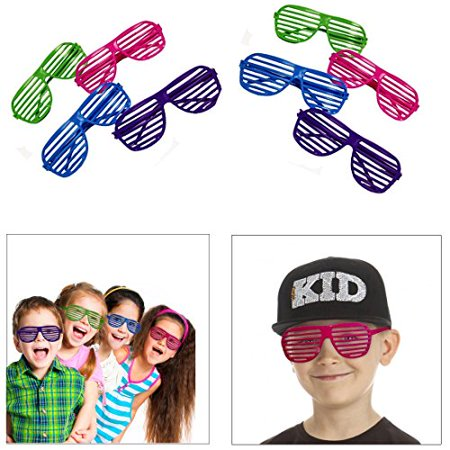 Dazzling Toys 80's 80's Slotted Toy Sunglasses Party Favors Costume - 4 - Assorted Colors - Decorations For 80's Party