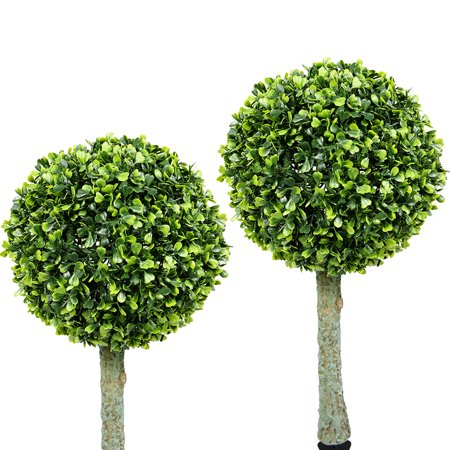 Iglow 2 Pack Outdoor Garden 30 Bright White Led Solar Topiary Tree Bush Landscape Path Light Lamp Yard Patio Decoration