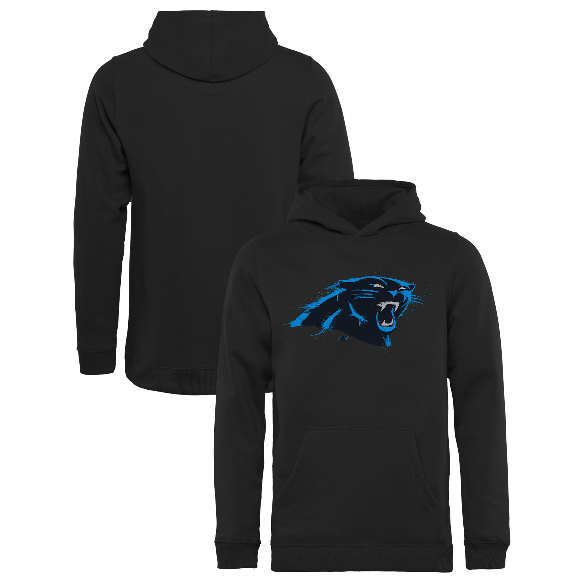 Carolina Panthers NFL Pro Line by Fanatics Branded Youth Splatter Logo Pullover Hoodie - Black