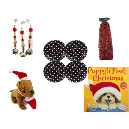Christmas Fun Gift Bundle [5 Piece] - Set of 3 Jingle Bell Dangle Ornaments -  Time Red Beaded Garland 18