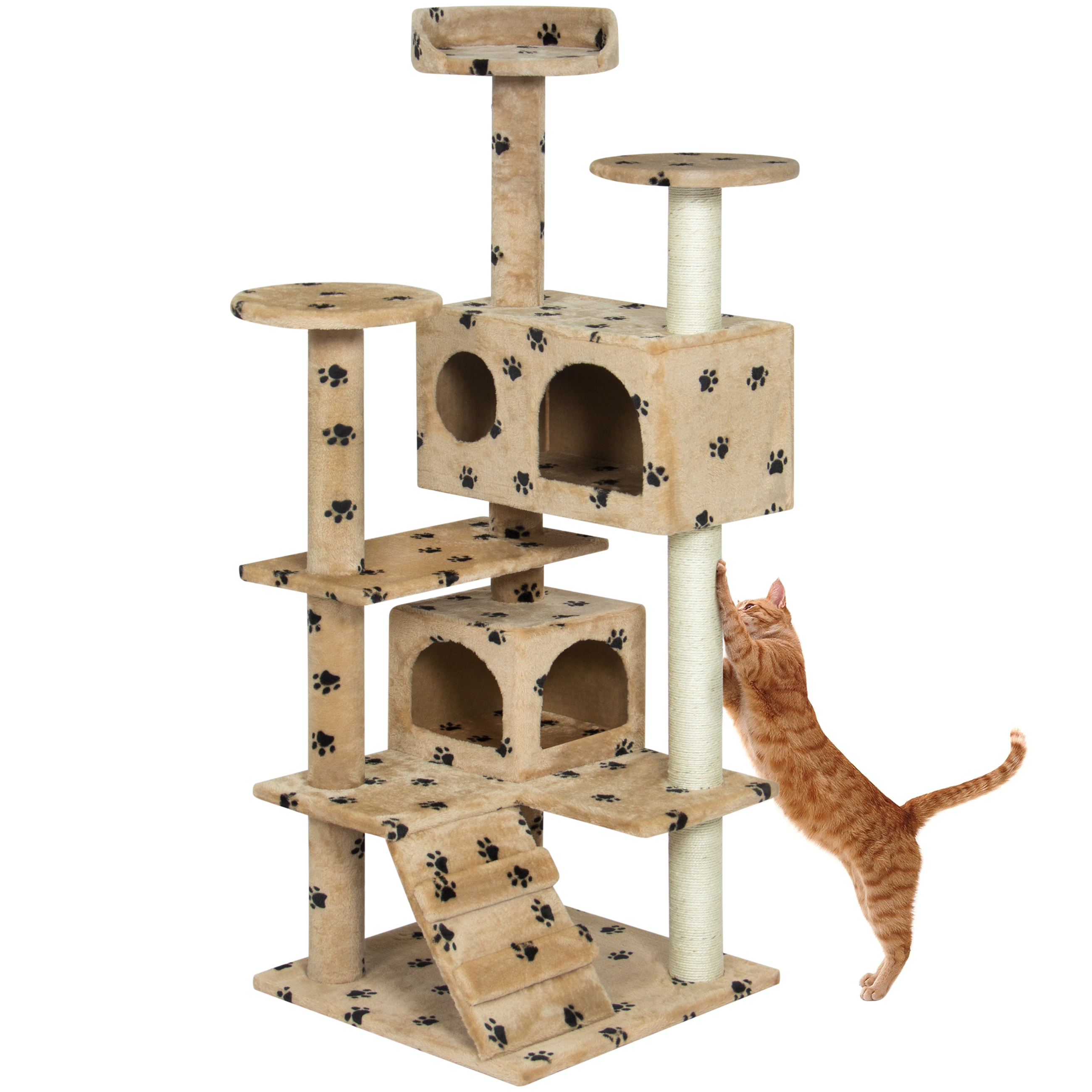 "Best Choice Products 53"" Multi-Level Cat Tree Scratcher Condo Tower- Paw Prints by"