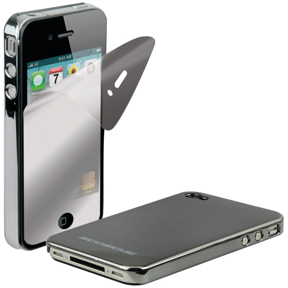 Scosche Dark Chrome metalliKASE AT&T iPhone 4 Plastic Case & Screen Protector