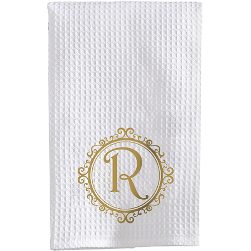 Personalized Initial Waffle Weave Towel, Available in 3 Font Colors
