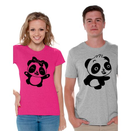 Awkward Styles Couple Shirts Couple Matching Shirts Panda T Shirts for Couples Perfect Valentine's Day Gift Cute Panda Matching Couple Set Panda Bear Shirts for Couples Happy Valentines Day Outfit - Homecoming Couples Outfits