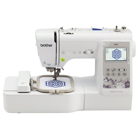 Brother SE600 Combination Computerized Sewing and 4x4 Embroidery Machine with Color LCD display, 80 Embroidery