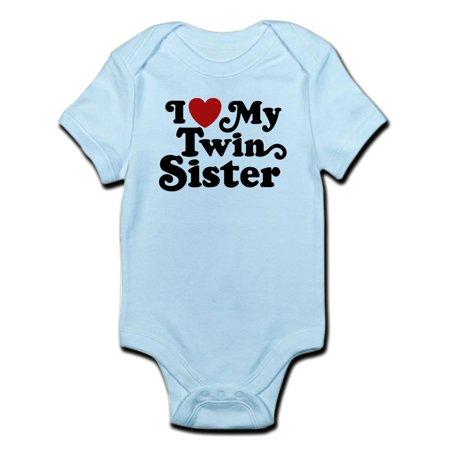 CafePress - I Love My Twin Sister Infant Bodysuit - Baby Light