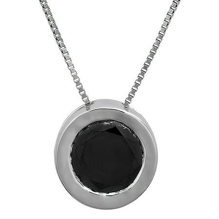 0.50 Carat (ctw) 14k White Gold Round Black Diamond Ladies Bezel Set Solitaire Pendant 1/2 CT
