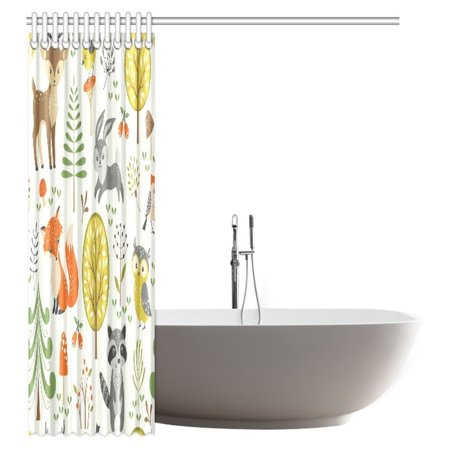 POP Summer Forest Pattern with Cute Woodland Animals, Trees, Mushrooms and Berries Shower Curtain Bathroom Decor 60x72 inch - image 1 of 2