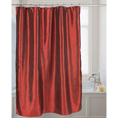 Carnation Shimmer Faux-Silk Shower Curtain - Ruby