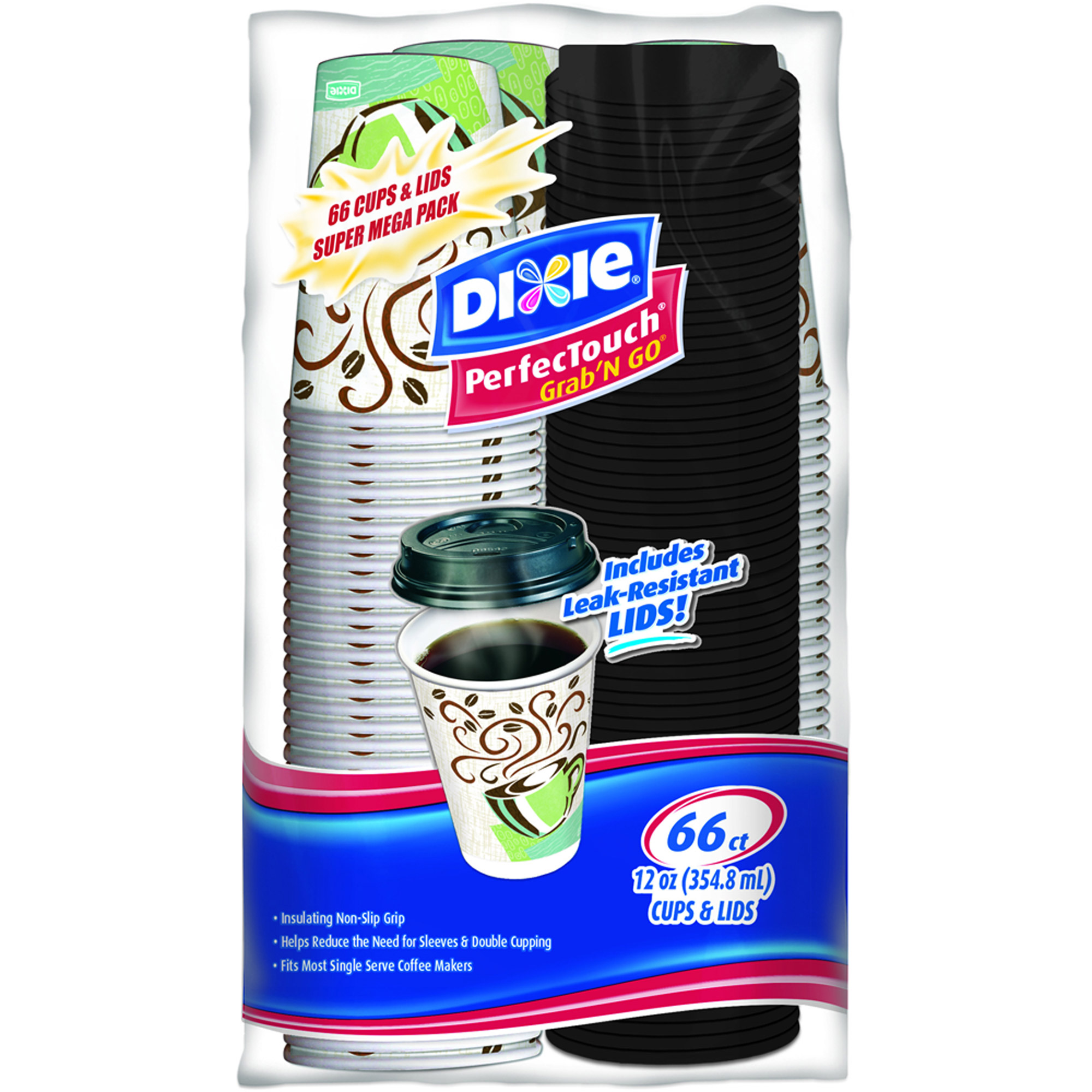 Dixie PerfecTouch Grab 'N Go Cups & Lids, 12 oz, 66 count
