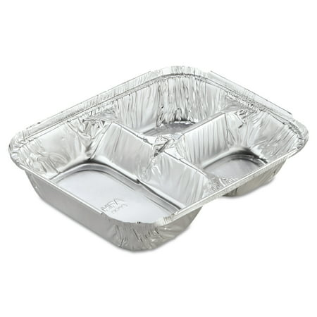 Handi-Foil of America Aluminum Oblong Container with Lid, 3-Compartment