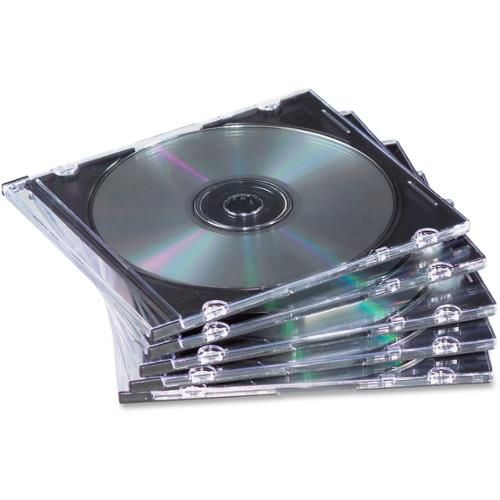 Fellowes Slim Jewel Cases - 25 Pack - Clear, Black