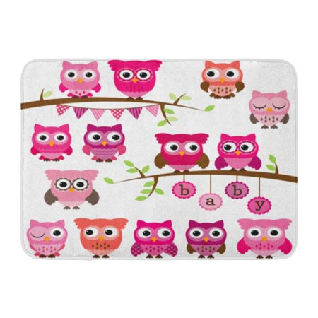 KDAGR Pink Cute Collection of Girl Baby Owls and Branches Blue Tree Family Doormat Floor Rug Bath Mat 23.6x15.7 inch