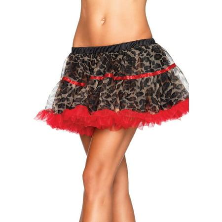 Leg Avenue Women's Leopard Print Tulle Petticoat With Contrast Solid Trim, Leopard, One Size