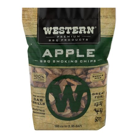 Western Premium BBQ Products Apple BBQ Smoking Chips, 180 cu -