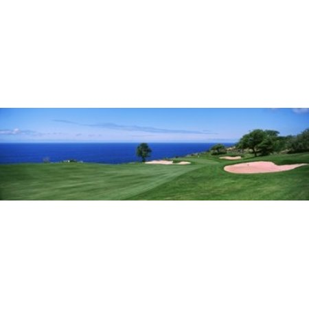 Golf course at the oceanside The Manele Golf Course Lanai City Hawaii USA Canvas Art - Panoramic Images (15 x - Halloween City Oceanside